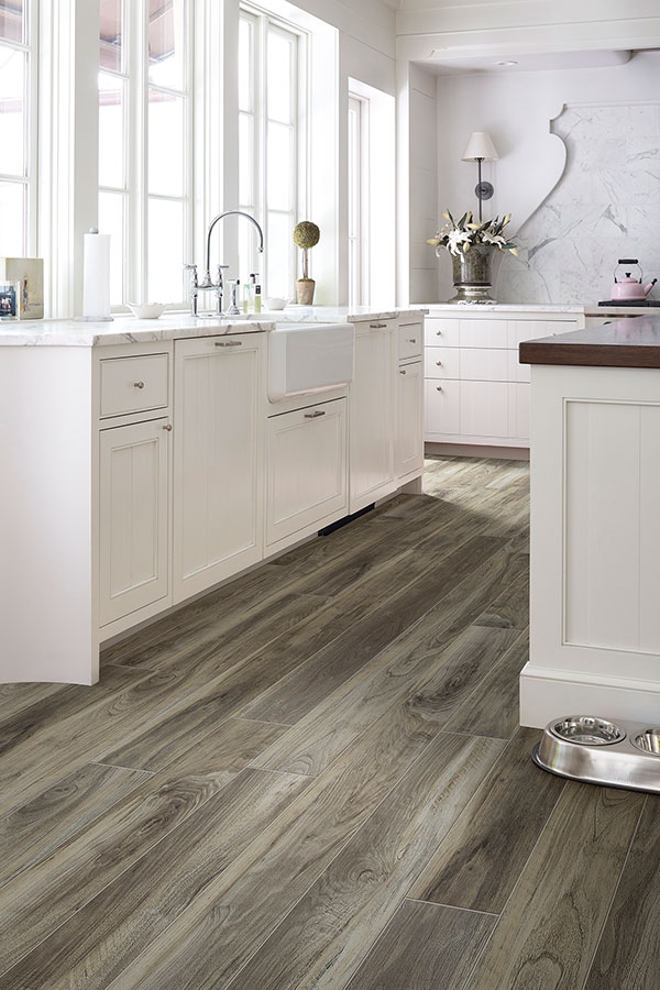 Beautiful Laminate Floors in White Kitchen